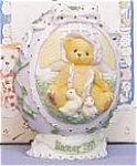 Click here to enlarge image and see more about item CT8: 1997 CHERISHED TEDDIES #203017 EASTER EGG 3 DIMENSIONAL BEAR + 2 CHICKS Enesco