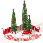 Department D56 Peppermint Landscape Set 7 Trees Curve Candy Cane Fence Bench 56.52991