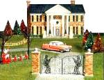 Click here to enlarge image and see more about item D56SV2: D56 ELVIS' GRACELAND 6 PC. SV GIFT SET #55041 Snow Village Dept.56 2000 55 Pink Caddy