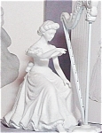 Click here to enlarge image and see more about item D56WINT5: 1994 Winter Silhouette Treasures Christmas Concerto Harpist #78468 7846-8 2 PC Lampli
