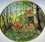 Click here to enlarge image and see more about item DEER3: Fawns in the June Meadow Woodland Year Peter Barrett  Signature Edition 1981 Roe Deer