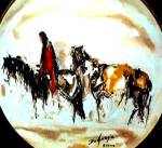 Click to view larger image of ALONE Western Degrazia Cowboy Horse Bradford Bradex 84-F4-30.4 Fairmont Artists World (Image1)