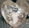 Click to view larger image of Bradford Exchange Heart Shaped Plate Holder Hanger 6 1/2 7 in LUCY GUTMANN ANGEL 3sz. (Image4)