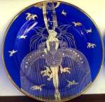 Click here to enlarge image and see more about item ERTE27: ART DECO COLLECTOR PLATE HER SECRET ADMIRERS ERTE SEVEN ARTS Sevenarts Doves Cobalt
