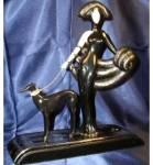 Click to view larger image of SYMPHONY IN BLACK Franklin Mint House Erte Sevenarts Ltd Art Deco Greyhound Wolfhound (Image2)