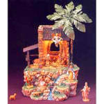 Click here to enlarge image and see more about item FON15: 13 Piece set 2 1/2 inch figure Lighted Musical Hillside Nativity Oh Holy Night #54213
