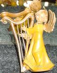 Click here to enlarge image and see more about item FON43: Fontanini SWEET HARMONY Harp Angel Non Club Italy Version E. Simonetti Wood Tone