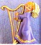Click here to enlarge image and see more about item FON45: Fontanini SWEET HARMONY Harp Purple Angel Club Italy 161 Simonetti Harpist 65351 spid