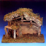 Click here to enlarge image and see more about item FON59: Roman Fontanini 5 Inch Nativity Series #50090 1998 Italian Stable with Corral Retired