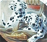 Click here to enlarge image and see more about item FP2: WE'VE BEEN SPOTTED IT'S A DOG'S LIFE Lynn Kaatz Firehouse Dalmation 84-K41-146.1 Pupp