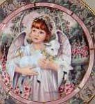 Click here to enlarge image and see more about item GARDEN12: GARDENS OF INNOCENCE LOVE Angel Donna Richardson Bradex 84-B10-10.12 lamb brunette wh
