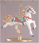 Click here to enlarge image and see more about item HALL64: 1989 CAROUSEL HORSE SET Of 4 + Display Stand XPR9719-23 SNOW HOLLY STAR GINGER