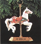 Click here to enlarge image and see more about item HALL66: Tobin Fraley Carousel QX522-3 QX5223 #3 White Horse Philadelphia Toboggan Company