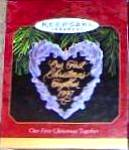 Click here to enlarge image and see more about item HALLMARK161: Hallmark Keepsake Our 1st First Christmas Together Acrylic Ornament 1997 QX318-2 Wrea