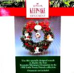 Click to view larger image of 1990 MINIATURE QXR9724 HALLMARK KEEPSAKE LITTLE FROSTY FRIENDS MEMORY WREATH Stand Bx (Image4)