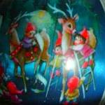 Click to view larger image of 1981 SANTA'S COMING QX812-2 Satin Ball Ornament Santa Mrs Claus Elves Reindeer Sleigh (Image4)