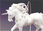 Click here to enlarge image and see more about item HM111: MAGICAL WHITE Porcelain UNICORN QX429-3 Limited Edition +Wood Display Stand MIMB