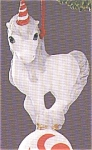 Click here to enlarge image and see more about item HM112: MERRY-MINT WHITE Porcelain UNICORN QX423-4 Red Striped Horn Peppermint Candy MIB 1988