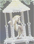 Click here to enlarge image and see more about item HM113: 1989 WHITE UNICORN FANTASY QLX723-5 In Lighted Acrylic Gazebo MIMB D.Rhodus