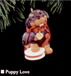 Click here to enlarge image and see more about item HM30: Hallmark 1995 #QX513-7 PUPPY LOVE #5 ROTTWEILER Ornament Dated Art Anita Marra Rogers