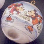 Click here to enlarge image and see more about item HM42: 1980 QX218-1 Disney : Mickey Minnie Mouse ice skate skating couple Satin Ball NB