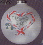 Click here to enlarge image and see more about item HM43: 1983 QX208-9 First ChristmasTogether Artist Linda Sickman Candy Canes Glass Ball