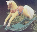 Click here to enlarge image and see more about item HM57: ROCKING HORSE #6 QX401-6 Artist Linda Sickman Golden Palomino Green Rockers MIB