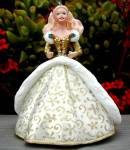 Click here to enlarge image and see more about item HMO90: 1994 QX521-6 HOLIDAY BARBIE #2 Gold White Gown Christmas Ensemble 94 Keepsake Ornamen
