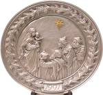 Click to view larger image of HUDSON PEWTER RELIEF PLATE We Three Kings Of Orient Are 1991 6 inch LE (Image1)