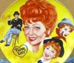 Click to view larger image of LUCILLE BALL TRIBUTE I LOVE LUCY Mike Hagel Collage 10 1/4 Yellow Royal Manor Hobo Pl (Image1)