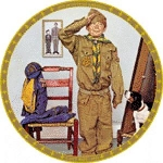 Click here to enlarge image and see more about item ISP3: Can't Wait 1972 Norman Rockwell Boy Cub Scout BSA Saturday Evening Post