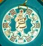 Click to view larger image of 1998 TWELVE DAYS  OF CHRISTMAS 12 Drummers Drumming Round China Ivory Gold ornament (Image2)