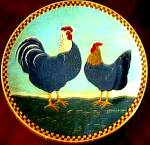 Click here to enlarge image and see more about item LENOX33: TWO ALARM MORNING Warren Kimble Barnyard Animals Collection Rooster Chickens Hen 1994