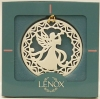 Click to view larger image of 1989 Lenox YULETIDE ANGEL With HORN  White Gold Trim China 1/4 Annual Round Ornament (Image2)