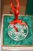 Click to view larger image of LENOX SNOW FANTASY SNOW STAR Snowflake China Gold Trim Round Ornament 19?? (Image2)