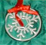 Click here to enlarge image and see more about item LENOX36: LENOX SNOW FANTASY #1 SILVER FROST Snowflake China Gold Trim Ornament 1996