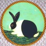 Click here to enlarge image and see more about item LENOX51: BLACK & AND WHITE BUNNY Warren Kimble Barnyard Animals Collection Rabbit LENOX LE '94