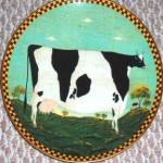Click here to enlarge image and see more about item LENOX52: Warren Kimble Barnyard Animals Collection HOLSTEIN COW LENOX L.E. 1994 Japan France