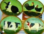 Click to view larger image of BARNYARD DOG Warren Kimble Barnyard Animals Collection LENOX 94 Japan France Bandanna (Image2)