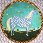 POLKA DOT DAPPLE GRAY GREY Warren Kimble Barnyard Animals Collection LENOX Horse '94