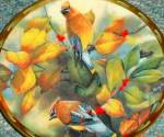 Click here to enlarge image and see more about item LENOX57: Among the Berries Catherine McClung Lenox Nature's Collage Plate Birds Cedar Waxwings
