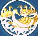 Click here to enlarge image and see more about item LENOX58: TWELVE 12 DAYS OF CHRISTMAS LENOX 6 Six Geese-a-Laying Round Flat Ivory Gold 1992 Chi