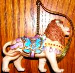 Click to view larger image of Lenox ROYAL LION CAROUSEL ANIMALS Christmas Porcelain Ornament '89 24K gold #2 Animal (Image2)