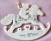 Click to view larger image of 99 BABY'S 1ST First CHRISTMAS TEDDY BEAR + ROCKING HORSE Dated Flat Porcelain (Image2)