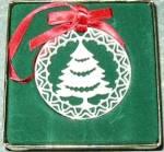 Click to view larger image of Lenox china Yuletide Christmas Tree 24K gold trim Ornament MIB 1985 Xmas 85 Green box (Image1)