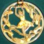 Click to view larger image of TWELVE 12 DAYS OF CHRISTMAS LENOX 9 NINE LADIES DANCING Round Flat Ivory Gold 1995 Ch (Image1)