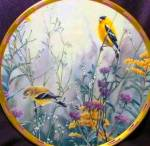 Click here to enlarge image and see more about item LENOX67: NATURE'S COLLAGE Lenox Golden Splendor Goldfinch Goldfinches Catherine McClung Birds