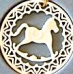 Click to view larger image of Lenox china Yuletide Rocking Horse 24K gold trim Ornament MIB 1985 Xmas 85 Green box (Image1)