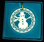 Lenox china Yuletide Snowmen Snowman 24K gold trim Ornament MIB 1982 Xmas 82 Green bx