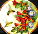Click here to enlarge image and see more about item LENOX71: Jeweled Glory Lenox Plate 94 Natures Collage Collection Nature's Hummingbirds McClung